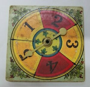 Antique Victorian Board Game Spinner, Brass Pointer, 5 Numbers, Lithographed
