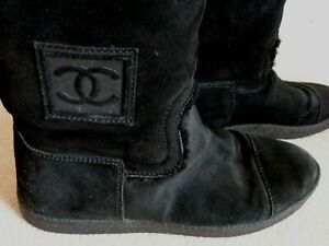 CHANEL BLACK SUEDE BOOTS SHEARLING LINING CC LOGO KNEE BOOTS FLATS Size 39 UK 6