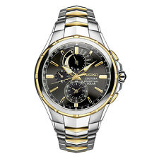 Seiko SSC376 Mens Coutura Solar Perpetual Chronograph Two Tone Day Date Watch