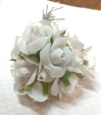 Vintage White Silk Small Roses  pack of 12    5/8 in
