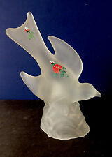 ESTATE FIND-VINTAGE LE SMITH SATIN GLASS BIRD IN FLIGHT HANDPAINTED ROSES