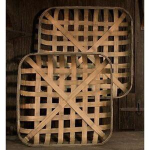 Set of 2 square Tobacco Baskets country farmhouse decor