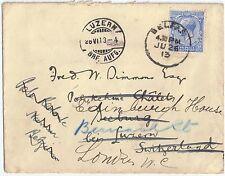 GB 1913 2.1/2d sg 372 used envelope Belfast 26 Jun 1913 to Luzean-Seeburg-London