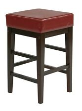 Faux Leather Seat 25H Square Bar Wood Counter Stool - Backless Chair - ES25VS3