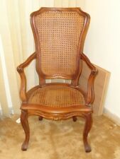 19 c. Italian Provincial Rococo Carved Walnut Fauteuil Chair with Rattan-Caned