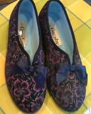 GROSBY slippers s5 rubber comfort sole UNUSED navy blue pink flower bows