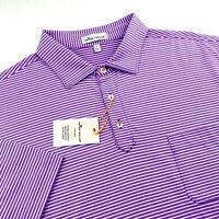 Peter Millar Crown Sport Polo Golf Shirt Purple White Striped Pocket L XL $95