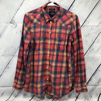 American Eagle Womens Plaid Button Down Shirt Size M Pearl Snaps Red Blue hs4288