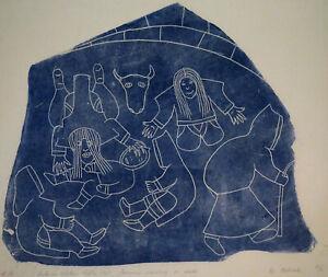 HELEN KALVAK Inuit Stone Cut Print Sorcerers Nursing Child 1968 Holman Island