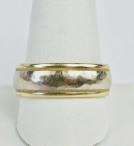 Vintage 14k Yellow And White Gold Hammered 8mm Mens Wedding Band Ring Size 11.75