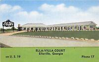 Georgia Ga Postcard Linen ELLAVILLE Ella-Villa Court Roadside Motel