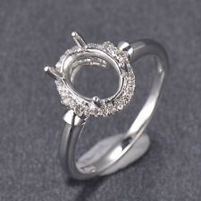 Oval Cut 7x9mm Solid 14K White Gold Natural Diamond Semi Mount Ring Setting