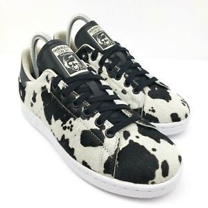Adidas Originals Stan Smith Womens Size 6.5 Fuzzy Cow Print Sneaker Shoes FV3087