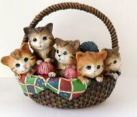 Basket of 5 Kittens Figurine Resin Plastic Kittys Balls Yarn Sweet Playful FLAW