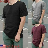 Mens T Shirt Slim Fit Casual T-shirt Tops Linen Clothes Bodybuilding Muscle Tee