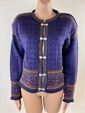 CHRISTIANIA Woman Purple Norwegian Fair Isle Pure Wool Cardigan Size M 12
