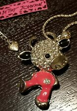 Betsey Johnson Dancing Cow Sweater Necklace Pendant Chain - Multicolored - New