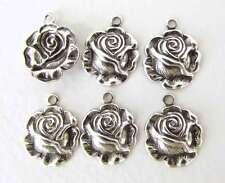 Antiqued Silver Ox Charm Rose Flower Drop Metal Findings 13mm