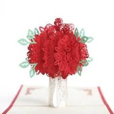 3D Pop up Rose Flower Paper Valentine's Day Greeting Card Wedding Invitation us