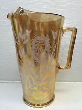 Jeannette Carnival Iridescent Marigold COSMOS Glass Pitcher w/Ice Lip