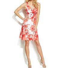 INC International Concepts Dress Sz L Red Sunset Flower Multi V-Neck Cocktail