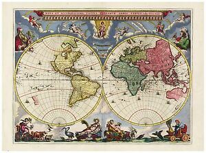 Vintage Old decorative World Map Blaeu 1665 paper or canvas