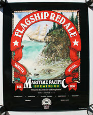 Beer Sign Flagship Red Ale Maritime Tall Wood Ship Sail Boat Sailing Island