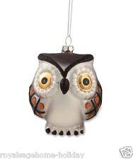 "DA4471 Bethany Lowe 4"" Hoot Owl Glass Ornament Halloween Christmas Brown Orange"