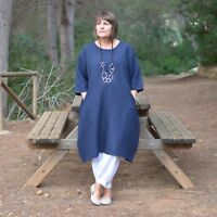 New Ladies Lagenlook Quirky Linen Tunic Dress 14 16 18 20 22 24 26 28 30 32 9469