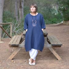 Ladies Lagenlook Quirky Linen Tunic Dress 14 16 18 20 22 24 26 28 30 32 9469
