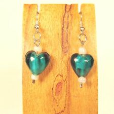 Jade Green Color Dainty Heart Shape Glass Handmade Drop Dangle Earring