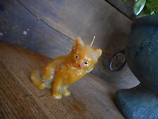 Vintage Cat Kitty Candle Kitsch Tan Old Crazy Cat Lady Collectible