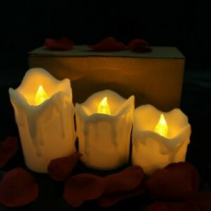 3 LED Remote Control Flameless Wax Flickering Candles Dancing Battery Operated