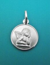 Cherub Angel Pendant 925 Sterling Silver Medal 14mm Round Christian Gifts