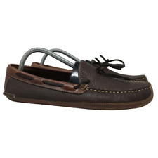 L.L. Bean Mens Bison Double Sole Moccasin Slippers Brown Leather 238246 Size 9 M