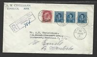 Canada Registered mail multiple cancels (ie split ring Montreal)