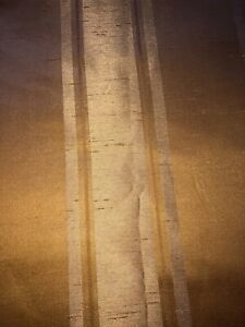 """REGAL HOME GOLD STRIPE DRAPES/CURTAINS DOUBLE LINED 83""""LONG"""