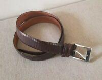 "Trafalgar Brown Leather Belt w/Snakeskin Finish, Silver over Brass Buckle Sz 36"""