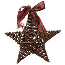 Natural Wicker Star with Tartan Ribbon - Christmas Decoration - 14.5cm