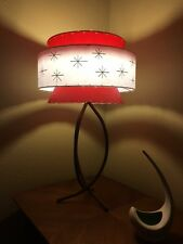 Mid Century Vintage Style Tapered 3 Tier Fiberglass Lamp Shade Modern Atomic RED