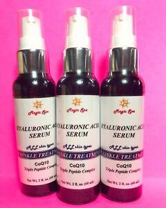 3*2oz HYALURONIC ACID Serum CoQ10 Anti-aging Wrinkle Filler Matrixyl 3000 Peptid