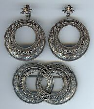 Clip Dangle Earrings & Matching Pin Cini Vintage Ornate Sterling Silver Large