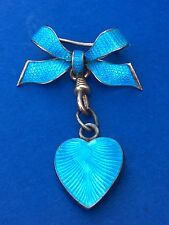 Antique/ Edwardian   Enamel Bow Set With Guilloche Enamel Puffy Heart On Drop