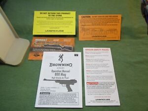 Browning Airguns Operation Manual 800 Mag High Velocity Air Pistol
