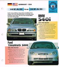 Ford TAURUS SHO  vs. BMW 540i Road Test Brochure