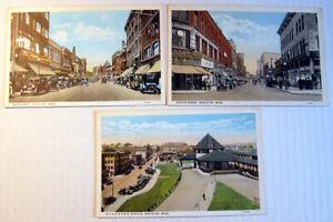 1930's Lot of 3 Brockton Mass. Main & Center Street + Rail Station Postcards