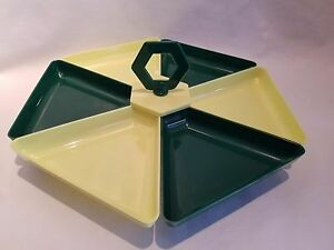 Vintage Beacon Mid-Century Modern Green Plastic Divided Appetizer Serving Tray
