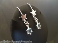 925 Sterling Silver Star Hook Earrings With Blue Star Charm Dangle