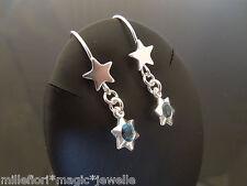 PLATA DE LEY 925 ESTRELLA PENDIENTES de gancho con Azul Estrella CHARM COLGANTE