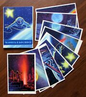 1965 RR! Soviet Russian Full Set of 16 Postcards MAN IN SPACE Leonov Sokolov Art